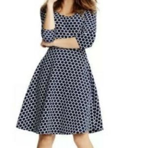Boden jersey jacquard navy polka dot dress 8 8L